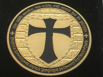 DOUBLE MOUNTED KNIGHTS TEMPLAR MASON COIN GOLDTONE BLACK