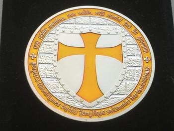 DOUBLE MOUNTED KNIGHTS TEMPLAR MASON COIN SILVERTONE ORANGE