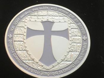 DOUBLE MOUNTED KNIGHTS TEMPLAR MASON COIN SILVERTONE WHITEGRAY