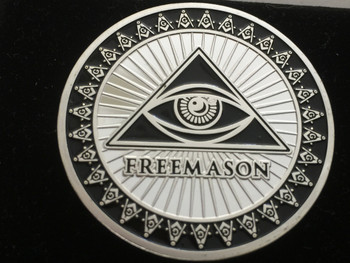 MASON  ALL SEEING EYE COIN SILVER TONE