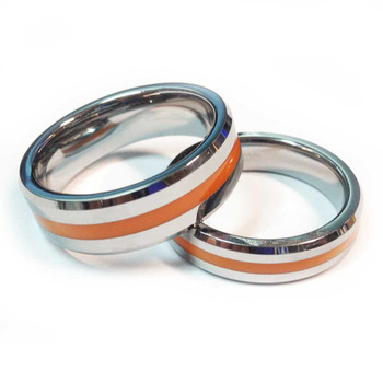 Tungsten Brotherhood Band - Thin orange line for paramedics, EMT's and EMS