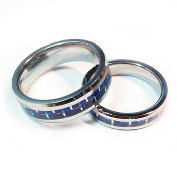 Tungsten Blue Line Carbon Fiber Center Brotherhood Band 5mm & 7mm width