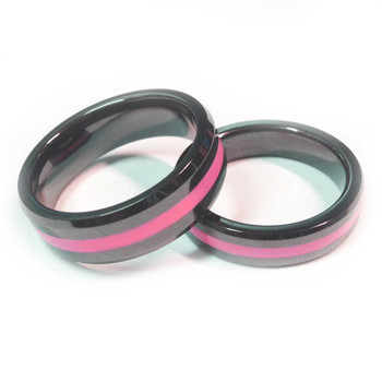 Ceramic Thin Pink Line Brotherhood Band 5 & 7mm width