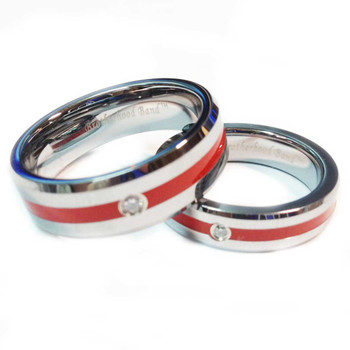 Tungsten Red Line Brotherhood Band 5mm & 7mm width