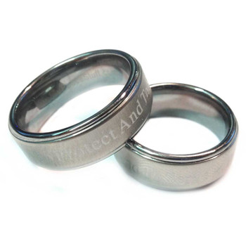 Silver Tungsten To Protect And To Serve Brotherhood Band 8mm width