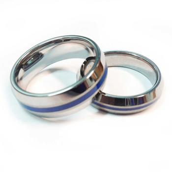 Tungsten Blue Line Brotherhood Band 5mm & 7mm width Beveled Edge