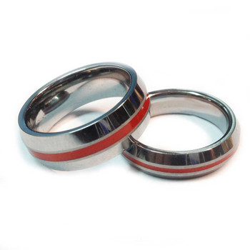 Tungsten Red Line Brotherhood Band 5mm & 7mm width Beveled Edge