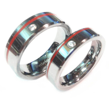 Tungsten Red Line Brotherhood Band 5 mm & 7 mm width with cubic zirconia