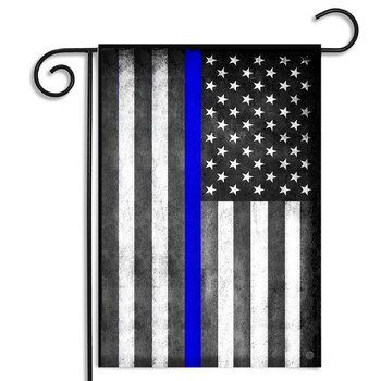 Distressed Thin Blue Line American Flag Garden Flag