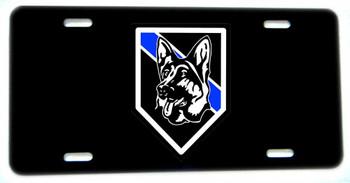 Thin Blue Line K9 German Shepherd  Aluminum License plate