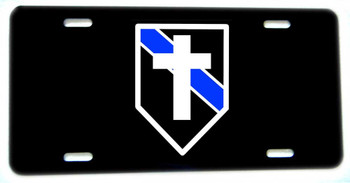 Thin Blue Line Police Sheriff Chaplain Aluminum License plate