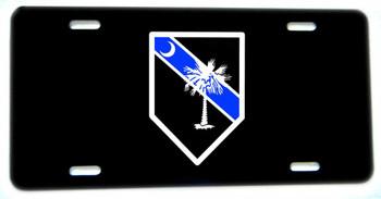 Thin Blue Line South Carolina Palm & Moon Aluminum License plate