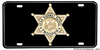 Utah Highway Patrol Trooper Badge Aluminum License plate