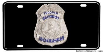 Virginia State Trooper Badge Aluminum License plate