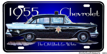 1955 Chevrolet Old Black & White Aluminum License plate