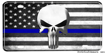 The Punisher Thin Blue Line American Flag Aluminum License plate
