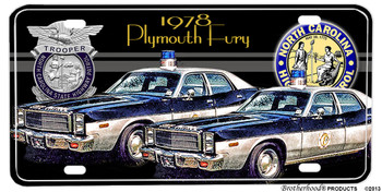 1978 NC Highway Patrol Plymouth Fury Aluminum License plate
