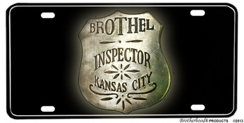 Brothel Inspector Kansas City Aluminum License plate