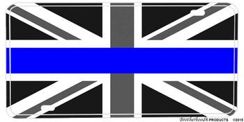 Thin Blue Line Black & White Union Jack Flag Aluminum License plate