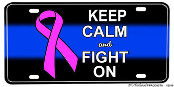 Thin Blue Line Pink Breast Cancer Ribbon Aluminum License plate