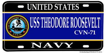 USS Theodore Roosevelt CVN-71 Aluminum License Plate