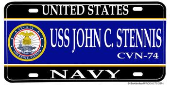 USS John C Stennis CVN-74 Aluminum License Plate