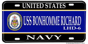 USS Bonhomme Richard LHD-6 Aluminum License Plate