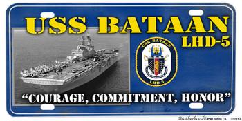 USS Bataan LHD-5 Motto Aluminum License Plate