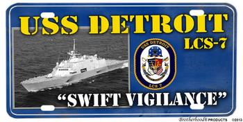 USS Detroit LCS-7 Motto Aluminum License Plate