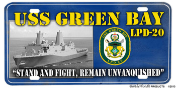 USS Green Bay LPD-20 Motto Aluminum License Plate