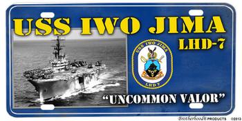 USS Iwo Jima LHD-7 Motto Aluminum License Plate