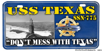 USS Texas SSN-775 Motto Aluminum License Plate