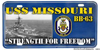 USS Missouri BB-63 Motto Aluminum License Plate