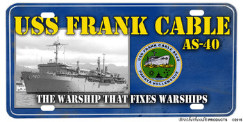 USS Frank Cable AS-40 Motto Aluminum License Plate