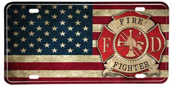 Distressed American Flag Firefighter Maltese Cross License plate