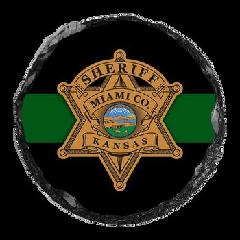 """Miami Sheriff 4"""" Round Slate Coaster"""