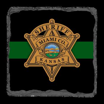 "Miami Sheriff 3.5"" Square Slate Coaster"