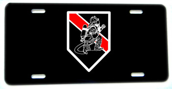 Thin Red Line Kneeling Firefighter Aluminum License plate