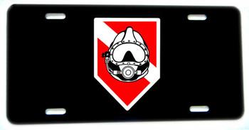 Diver Down Flag Dive Helemt Aluminum License plate