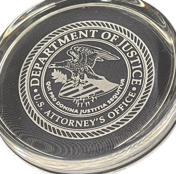 DEPARTMENT OF JUSTICE US. ATTORNEY'S OFFICE PAPERWEIGHT