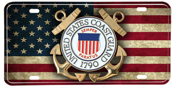 Distressed American Flag US Coast Guard Emblem License plate