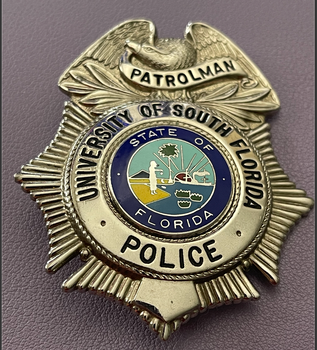 UNIV. OF SOUTH FLORIDA POLICE PATROLMAN BADGE SILVER TONE