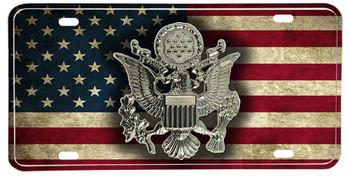 Distressed American Flag US Army Hat Emblem License plate