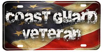 Coast Guard Veteran American Flag Aluminum License plate