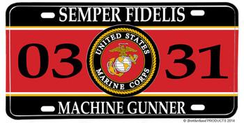 US Marines MOS 0331 Machine Gunner License plate