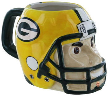 Green Bay Packers NFL Sculpted Mascot Mug 18oz NEW.