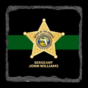 """Highlands Sheriff 3.5"""" Square Slate Coaster"""