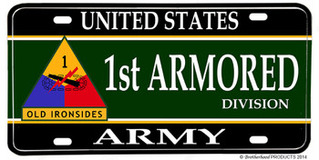 US Army 1st Armored Division Aluminum License plate