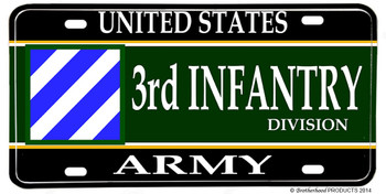 US Army 3rd Infantry Division Aluminum License plate