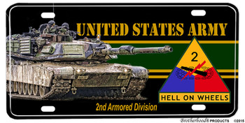 US Army Hell On Wheels 2nd Armored Division Aluminum License plate